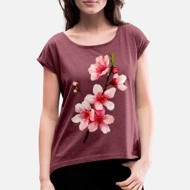 Outdoor Cherry Blossom - Women's Rolled Sleeve T-Shirt
