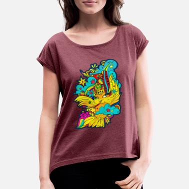 Bird Illustration Character Bird BIRD Illustration Rainbow - Women's Rolled Sleeve T-Shirt