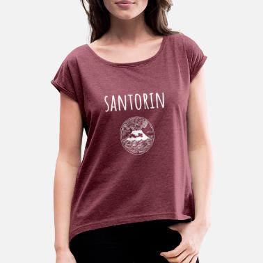 Eruption Volcanic eruption island Santorini - Women's Rolled Sleeve T-Shirt