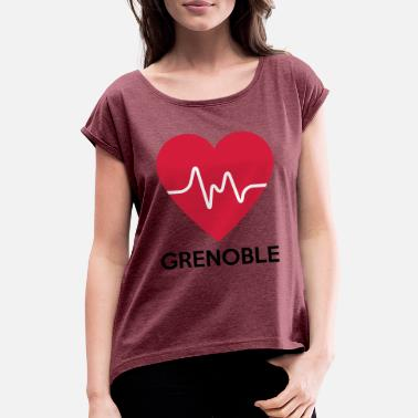 Grenoble heart Grenoble - Women's T-Shirt with rolled up sleeves