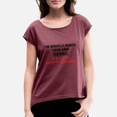 Fucked Angel PEACE LOVE YOURSELF FUCK angel angler png - Women's Rolled Sleeve T-Shirt