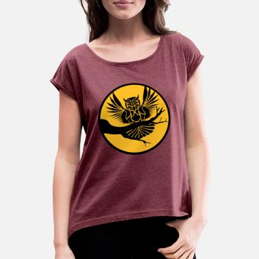 Asta forest tree dark circle round owl tattoo u - Women's T-Shirt with rolled up sleeves