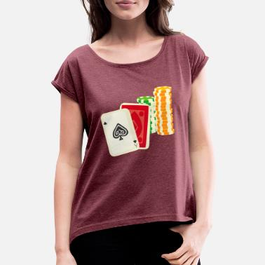 Chip Leader Poker Chips Chips Chips Play Money Money - Women's T-Shirt with rolled up sleeves