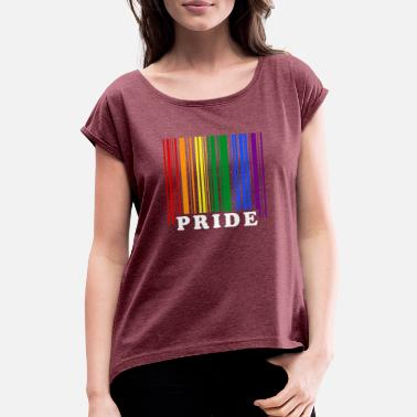 Pride LGBT barcode - Women's Rolled Sleeve T-Shirt