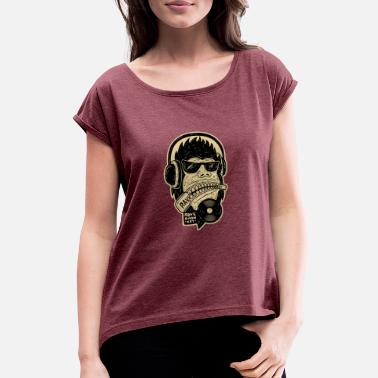 Funky House FUNKY MONKEY RAVERMONKEY HOUSE MUSIC VINYL SHIRT - Women's T-Shirt with rolled up sleeves