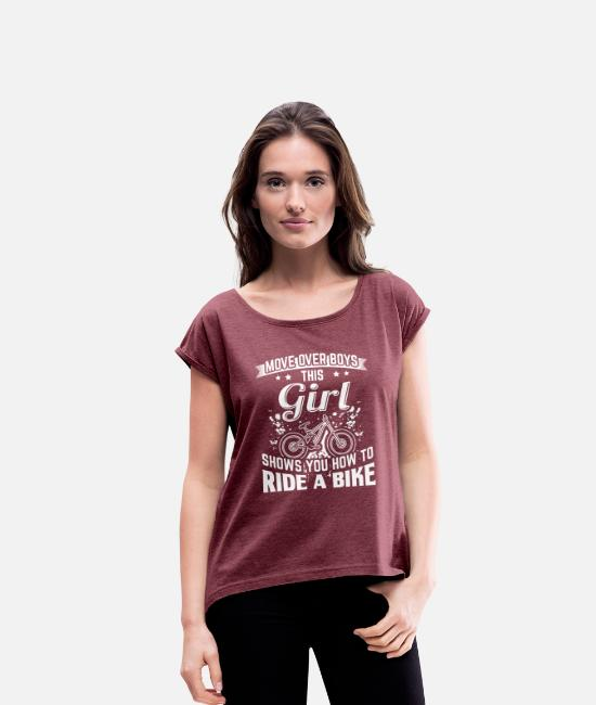 Road Bike T-Shirts - Ridebike MOVE OVER this girl - Women's Rolled Sleeve T-Shirt heather burgundy