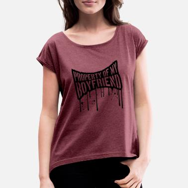 Silhouette Jokes drop graffiti stamp funny silhouette logo Proper - Women's T-Shirt with rolled up sleeves