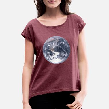 Blue Earth Earth Universe Blue planet - Women's T-Shirt with rolled up sleeves