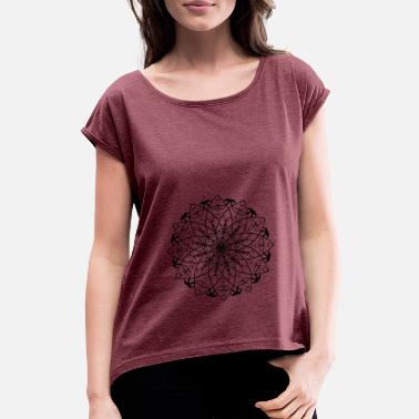 Lotus Mandala Buddha - Women's Rolled Sleeve T-Shirt