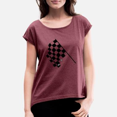 Checkered Flag checkered flag - Women's Rolled Sleeve T-Shirt