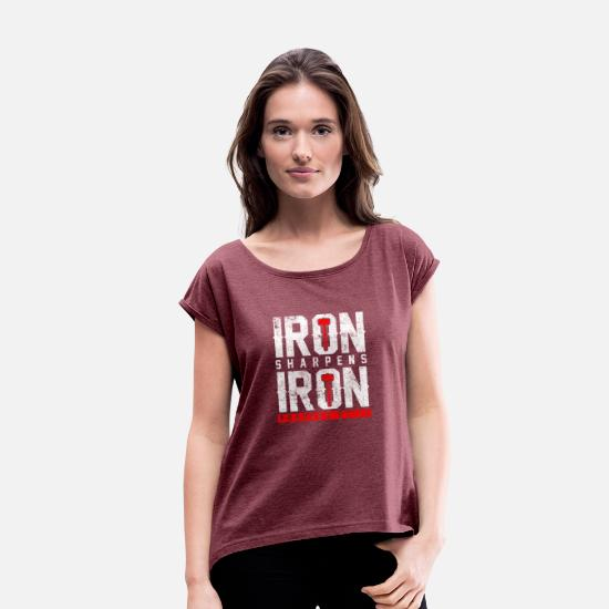 Lieben T-Shirts - iron sharpens iron Bible Quote - Frauen T-Shirt mit gerollten Ärmeln Bordeauxrot meliert