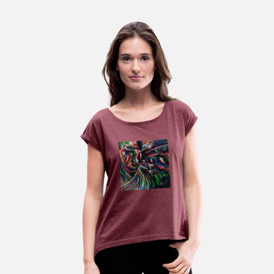 Couple T-Shirts - couple - Women's Rolled Sleeve T-Shirt heather burgundy