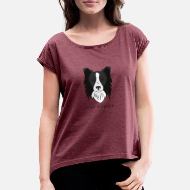 Border Collie Border Collie - Dark - Women's T-Shirt with rolled up sleeves