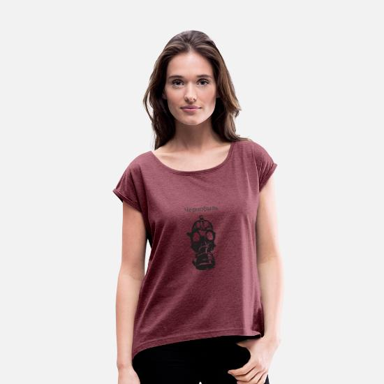 Horror T-Shirts - Chernobyl writing, nuclear disaster - Women's Rolled Sleeve T-Shirt heather burgundy