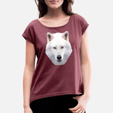 Wolfpack I love wolves - white wolf - Women's Rolled Sleeve T-Shirt
