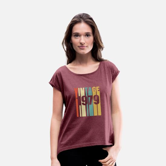 Classic T-Shirts - Vintage 1979 Retro - Women's Rolled Sleeve T-Shirt heather burgundy