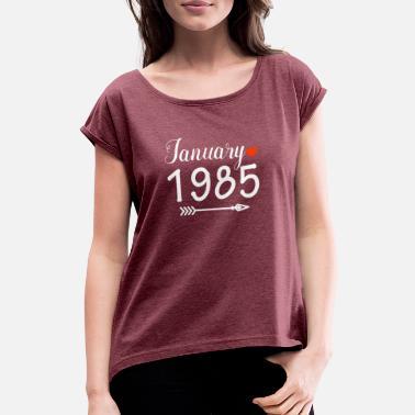 1985 Janvier 1985 - T-shirt à manches retroussées Femme 74bf6c17b806