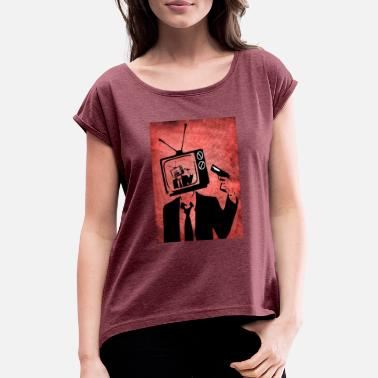 Surrealism surreal TV - Women's Rolled Sleeve T-Shirt