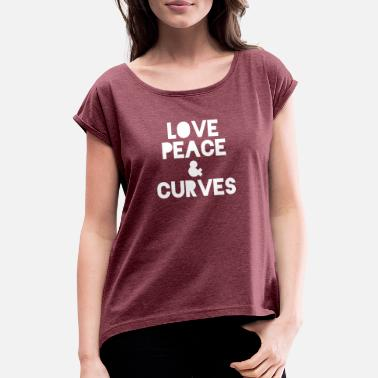 Plus LOVE PEACE CURVES - CURVY T-shirt - Women's Rolled Sleeve T-Shirt