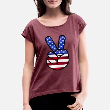 Patriotic Peace - Women's Rolled Sleeve T-Shirt