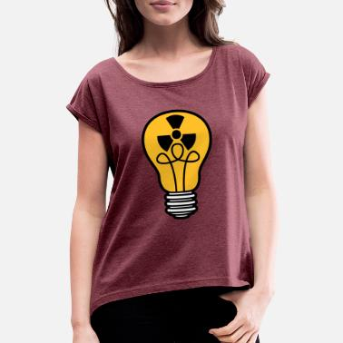 Atomic atom energy sign symbol radioactive light bulb - Women's Rolled Sleeve T-Shirt