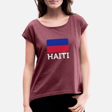 Carrefour National Flag Of Haiti - Women's T-Shirt with rolled up sleeves