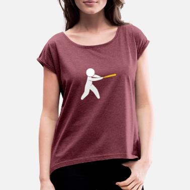 Minor League A Baseball Player Hits The Ball - Women's T-Shirt with rolled up sleeves