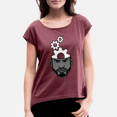 Cogwheel Mechanical Engineering face head man smart worker mechanical thinking - Women's T-Shirt with rolled up sleeves