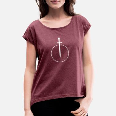 Sword Belt Sword in circle - Women's Rolled Sleeve T-Shirt