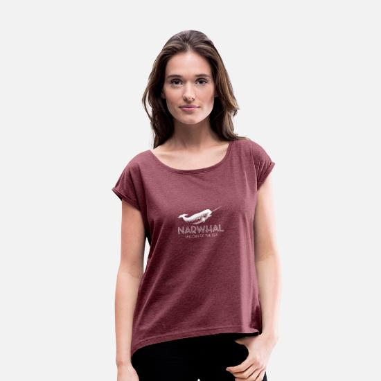 Cool T-Shirts - Narwhal Unicorn Of The Sea Funny Deep Sea Animal - Women's Rolled Sleeve T-Shirt heather burgundy
