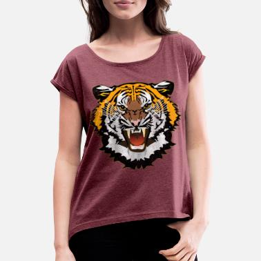 Bad Look Tiger Graphic Used Look Bad Look T-Shirt - Women's Rolled Sleeve T-Shirt