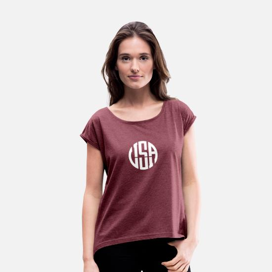 Usa T-Shirts - USA - Women's Rolled Sleeve T-Shirt heather burgundy