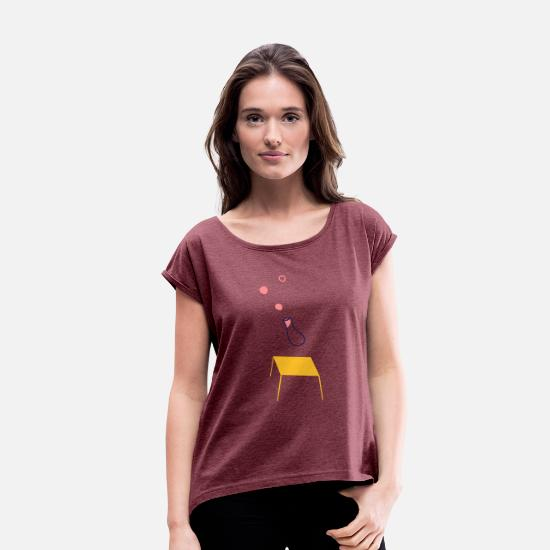 Beautiful T-Shirts - Vase art - Women's Rolled Sleeve T-Shirt heather burgundy