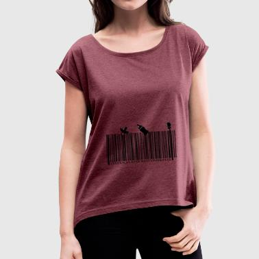 Baby Barcode SCAN TO SEE WHAT'S INSIDE - Women's T-shirt with rolled up sleeves