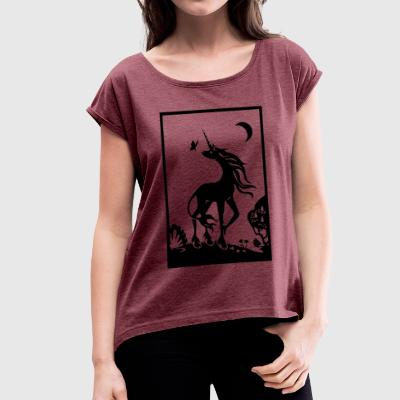 Dreamy unicorn - Women's T-shirt with rolled up sleeves