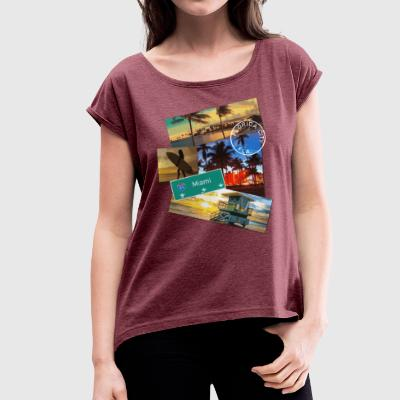 Miami Florida poster travel beach surf t shirt - Women's T-shirt with rolled up sleeves