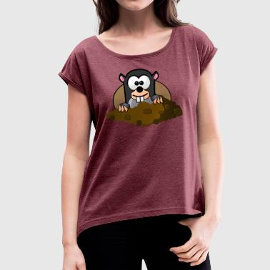 Animal Animals Mole - Women's T-shirt with rolled up sleeves