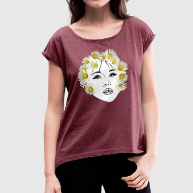 Flower girl white - Women's T-shirt with rolled up sleeves