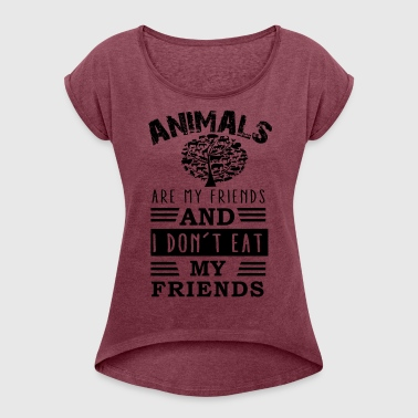 animal friends - Women's T-shirt with rolled up sleeves