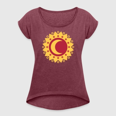Sun and moon, stars, universe, crescent, summer - Women's T-shirt with rolled up sleeves