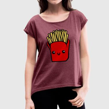 french fries pommes frites fastfood fast food2 - Frauen T-Shirt mit gerollten Ärmeln