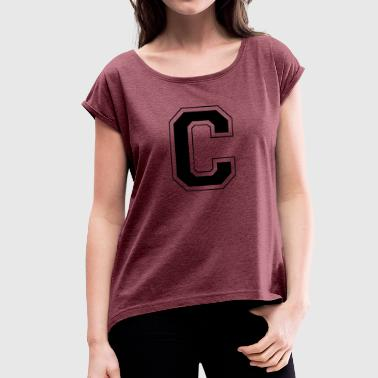 Letter C - Women's T-shirt with rolled up sleeves