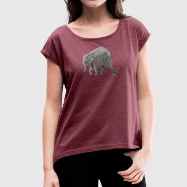 Baby elephant on a Mission - Women's T-shirt with rolled up sleeves