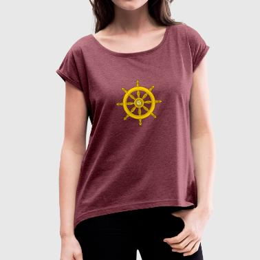 Dharma Wheel/ships wheel - Women's T-shirt with rolled up sleeves