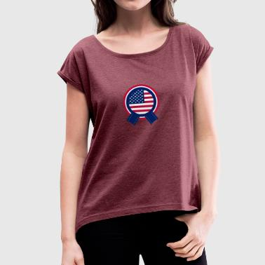 Independence Day American Flag Badge - Dame T-shirt med rulleærmer
