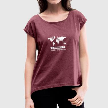 Travel the world - weiss - Frauen T-Shirt mit gerollten Ärmeln