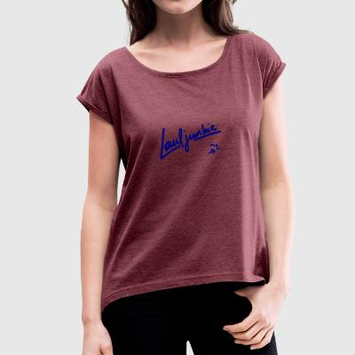 Running Junkie blue - Women's T-shirt with rolled up sleeves