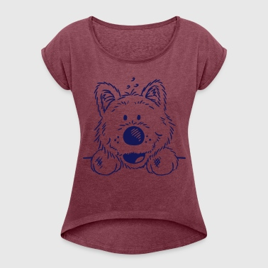 Knuffiger Westie - West Highland White Terrier  - Women's T-shirt with rolled up sleeves