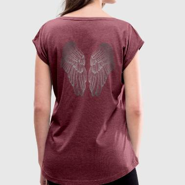 Heart Shaped Silver Guardian Angel Wings - Women's T-shirt with rolled up sleeves