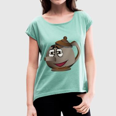 Tea Pot Smiley - Women's T-shirt with rolled up sleeves